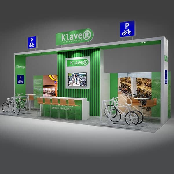 Dtp standbouw Klaver Fietsparkeren voor EMC Expo standbouw Utrecht