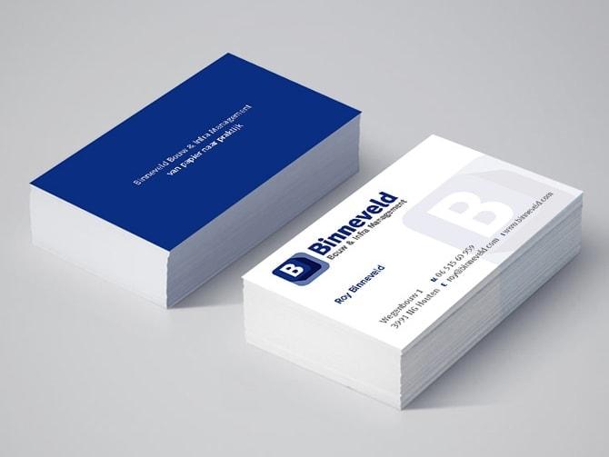 Binneveld Bouw en Infra Management visitekaartjes ontwerp Ben Drost