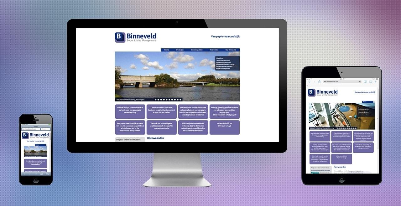 Binneveld bouw en infra management | responsive webdesign portfolio Ben Drost