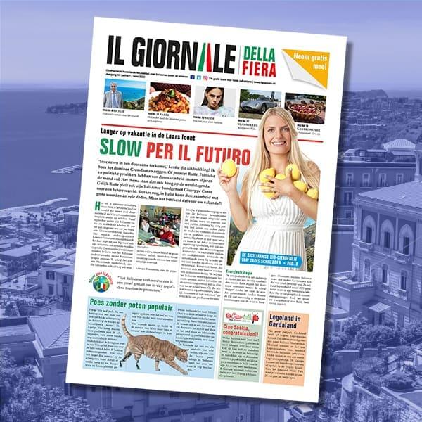 Dtp-opmaak Il Giornale, gratis krant over Italië (opdrachtgever: Vicini Media, Zeist)