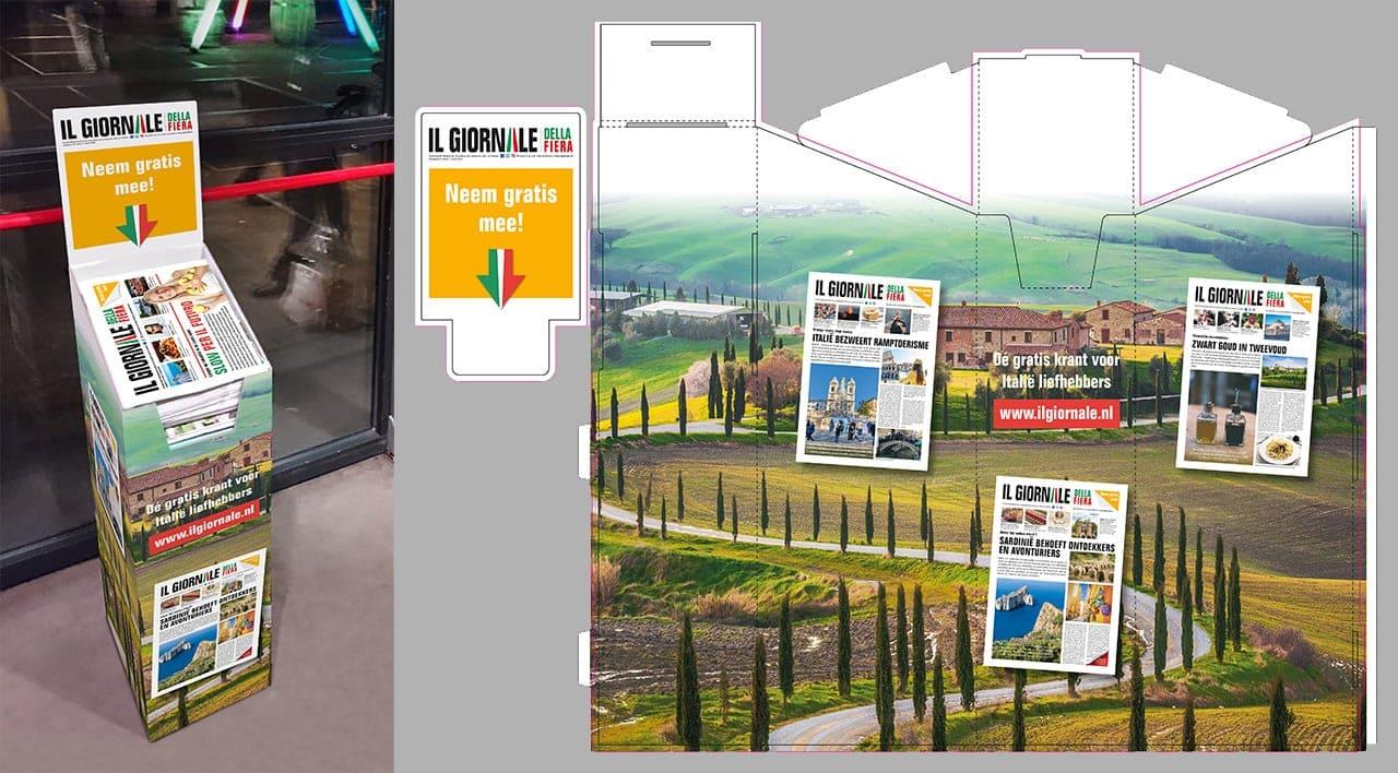 Il Giornale ontwerp krantendisplay; rechts zie je het plano vormgevingsbestand (opdrachtgever: Vicini Media, Zeist)