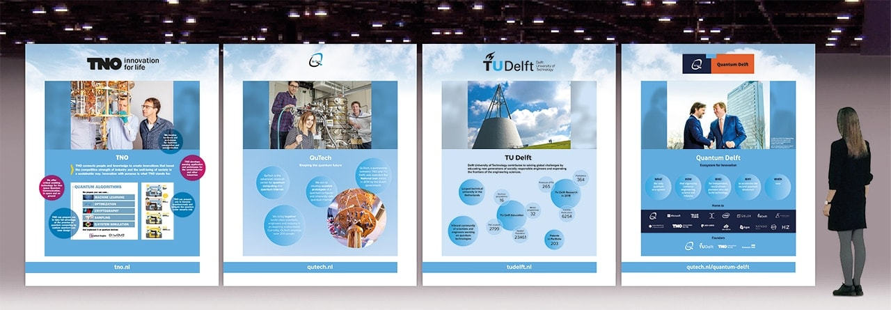 Dtp-vormgeving van vier beurspanelen TNO/TU Delft/QTech voor IQTE event