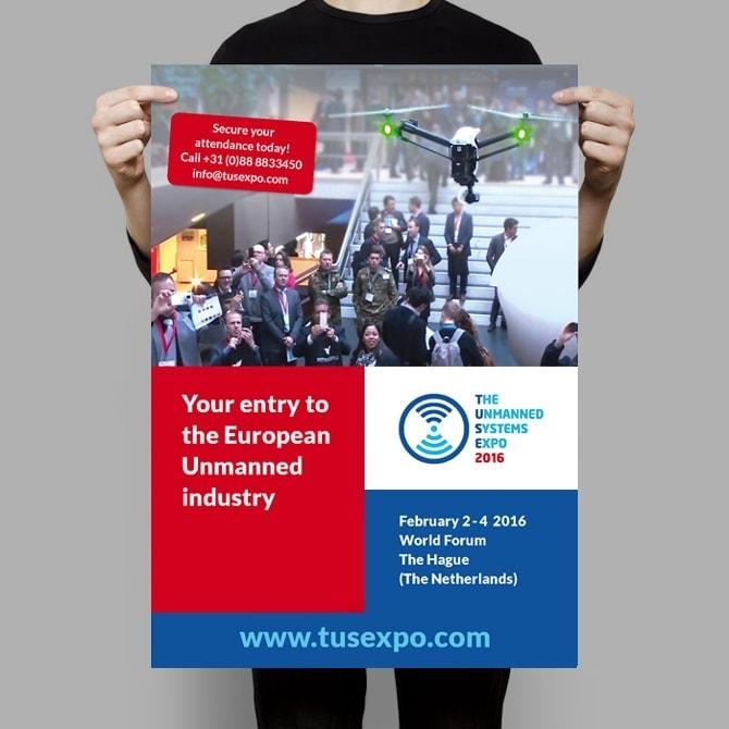 TUSexpo beurs voor drones robots - onbemande voertuigen- poster ontwerp Ben Drost - Marketingcommunicatie portfolio