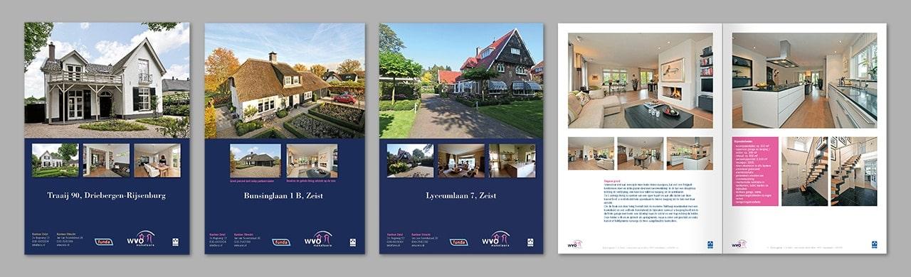 Grafisch ontwerp van basisgrid en dtp-vormgeving van serie woningbrochures voor WVO Makelaars